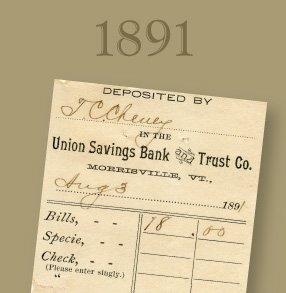 1891. Image of a historical deposit slip