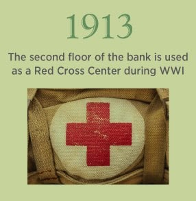 1913. The second floor of the bank is used as a Red Cross Center during WWI