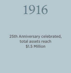 1916. 25th Anniversary celebrated, total assets reach $1.5 Million