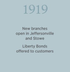 1919. New branches open in Jeffersonville and Stowe. Liberty bonds offered to customers.