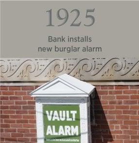 1925. Bank installs new burglar alarm