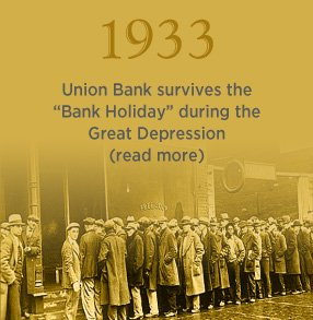 "1933. Union Bank survives the ""Bank Holiday"" during the Great Depression. Click to learn more."