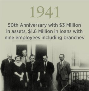 1941. 50th Anniversary with $3 Million in assets, $1.6 Million in loans with nine employees including branches.