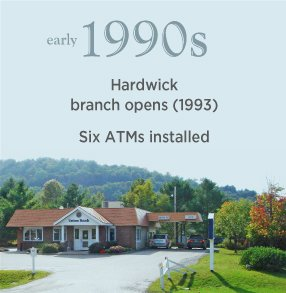 Early 1990s. Hardwick branch opens (1993). Six ATMs installed.