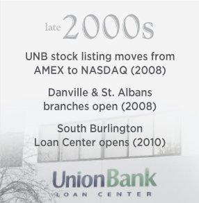 Late 2000s. Danville & St. Albans branches open (2008). South Burlington Loan Center opens (2010).