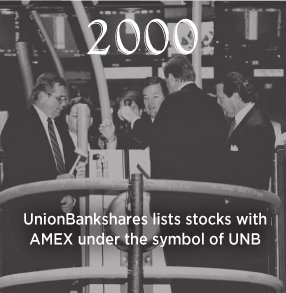 2000. UnionBankshares lists stocks with AMEX under the symbol of UNB.