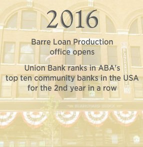 2016. Barre Loan Production office opens. Union Bank ranks in ABA top 10 community banks in the US for the 2nd year in a row.