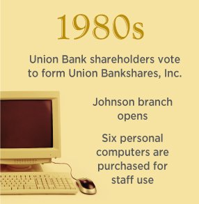 1980s. Union Bank shareholders vote to form Union Bankshares, Inc. Johnson branch opens. 6 PCs are purchased for staff use.