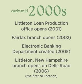 Early-mid 2000s. Fairfax branch opens (2002). The first New Hampshire branch opens in Littleton (2006).