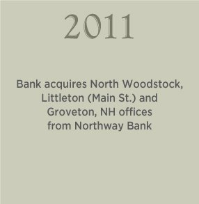 2011. Bank acquires North Woodstock, Littleton (Main St.) and Groveton, NH offices from Northway Bank.