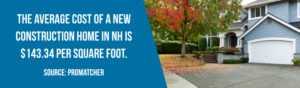 Average cost of new construction home in NH is $143.34 per square foot