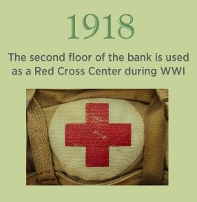 1918. The second floor of the bank is used as a Red Cross Center during WWI