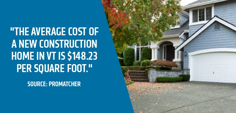 Average cost of a new construction home in VT is $148.23 per square foot