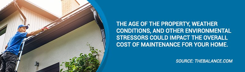 The age of the property, weather conditions, and other environmental stressors could impact the overall cost of maintenance for your home.