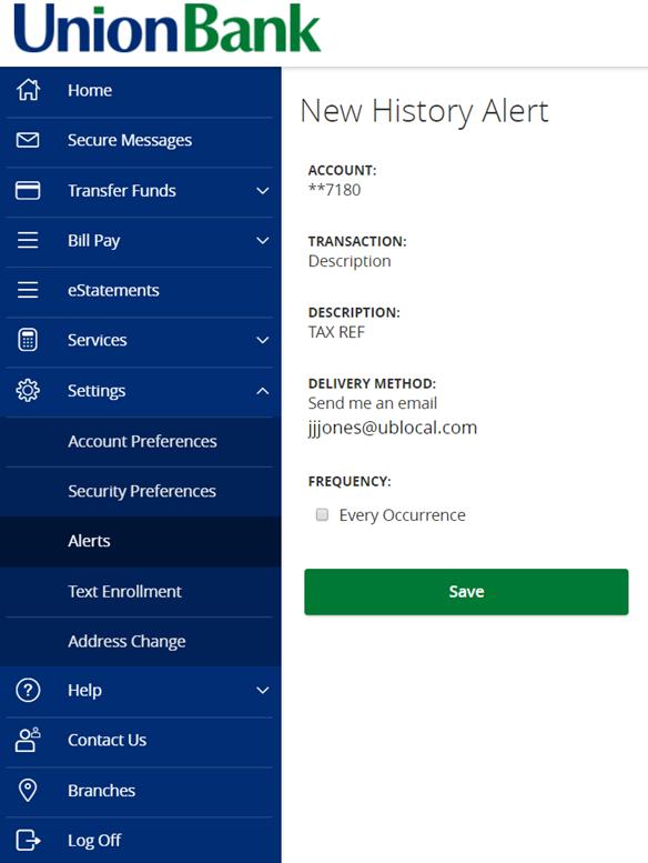History Alert Online Banking