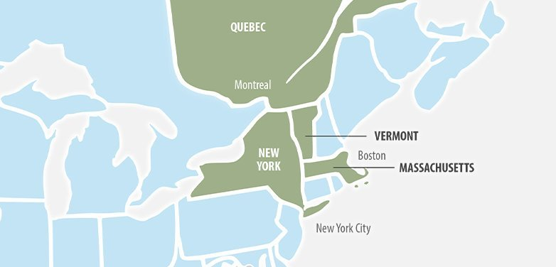 Map of Vermont Proximity to NY, Boston, Montreal
