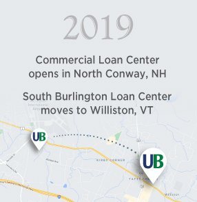 2019: Commercial Loan Center opens in North Conway, NH / South Burlington Loan Center moves to Williston, VT