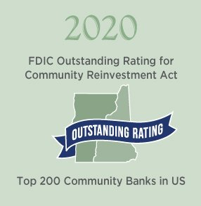 2020: FDIC Outstanding Rating for Community Reinvestment Act / Top 200 Community Banks in US