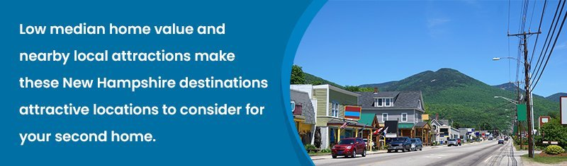 Lew median home value and nearby local attractions make these New Hampshire destinations attractive locations to consider for your second home.